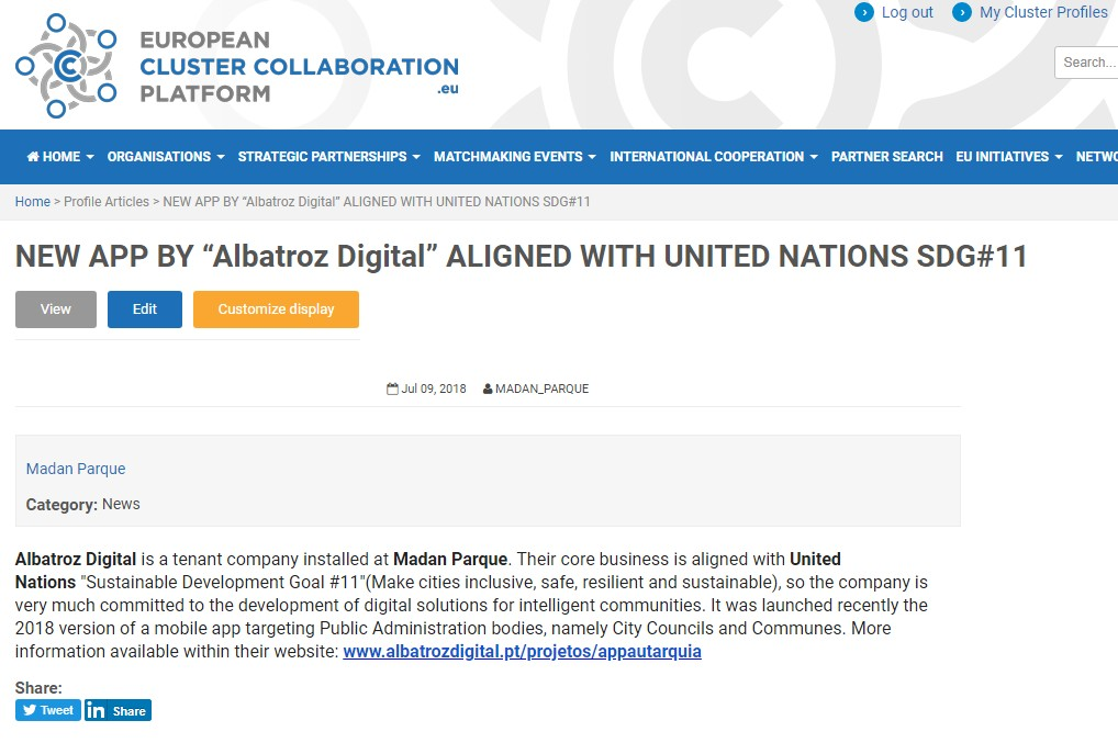 New APP by Albatroz Digital Aligned with united nations SDG#11